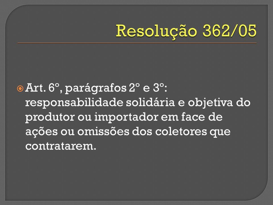 Art. 6º, parágrafos 2º e 3º: responsabilidade solidária e objetiva do produtor ou importador em face de ações ou omissões dos coletores que contratare