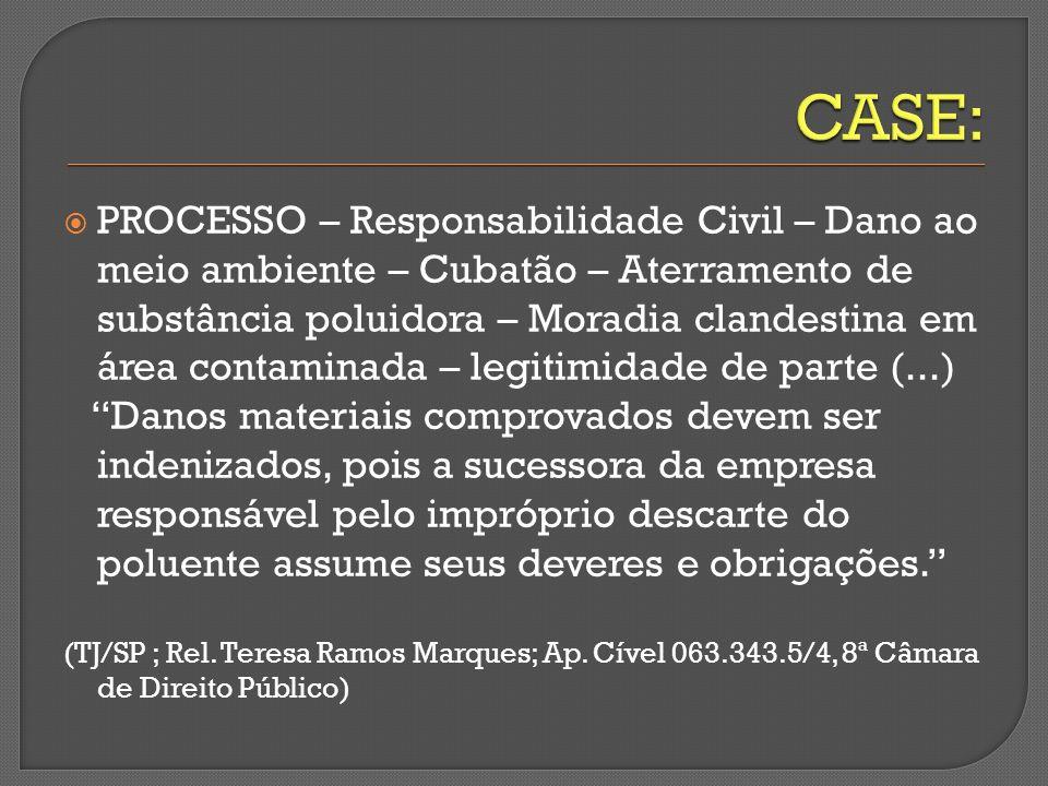 PROCESSO – Responsabilidade Civil – Dano ao meio ambiente – Cubatão – Aterramento de substância poluidora – Moradia clandestina em área contaminada –