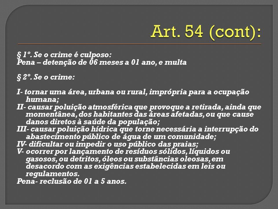 § 1º. Se o crime é culposo: Pena – detenção de 06 meses a 01 ano, e multa § 2º. Se o crime: I- tornar uma área, urbana ou rural, imprópria para a ocup