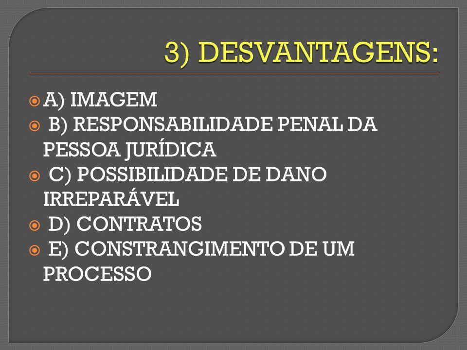 A) IMAGEM B) RESPONSABILIDADE PENAL DA PESSOA JURÍDICA C) POSSIBILIDADE DE DANO IRREPARÁVEL D) CONTRATOS E) CONSTRANGIMENTO DE UM PROCESSO