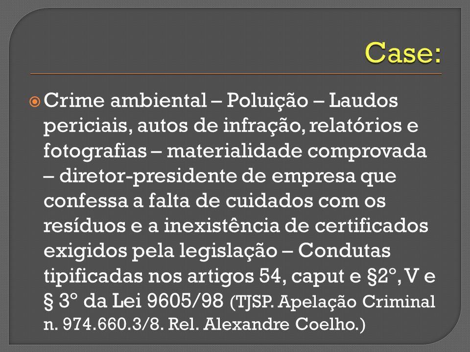 Crime ambiental – Poluição – Laudos periciais, autos de infração, relatórios e fotografias – materialidade comprovada – diretor-presidente de empresa