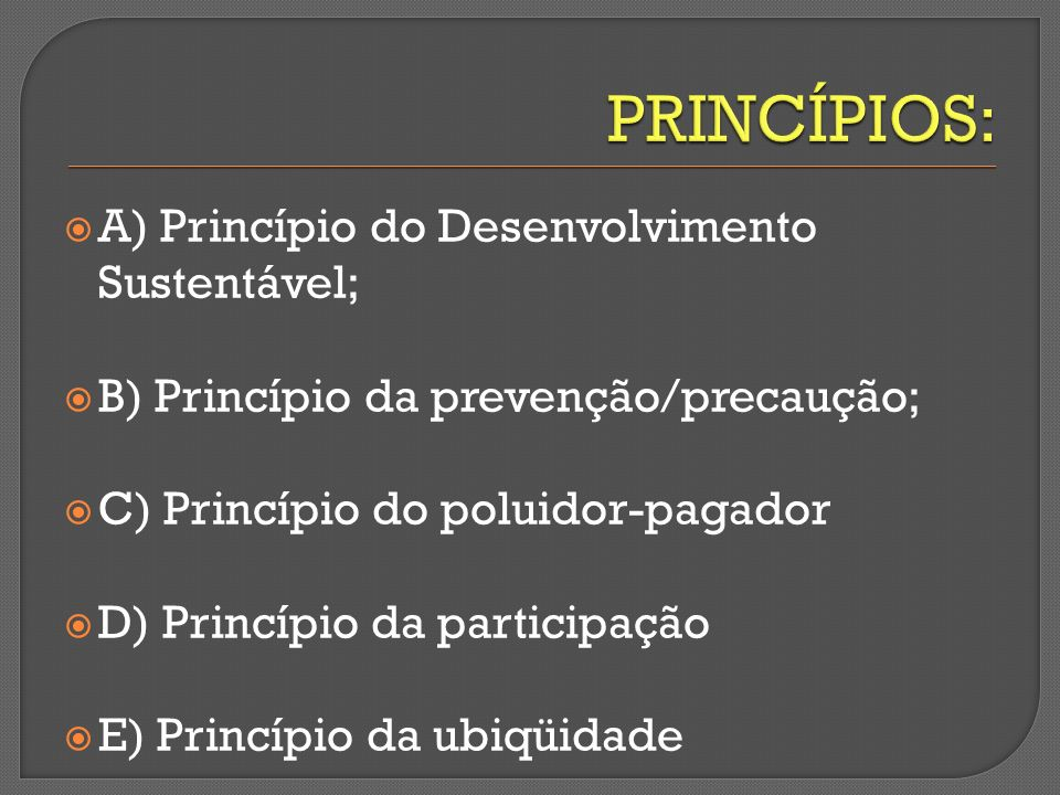 A) Princípio do Desenvolvimento Sustentável; B) Princípio da prevenção/precaução; C) Princípio do poluidor-pagador D) Princípio da participação E) Pri