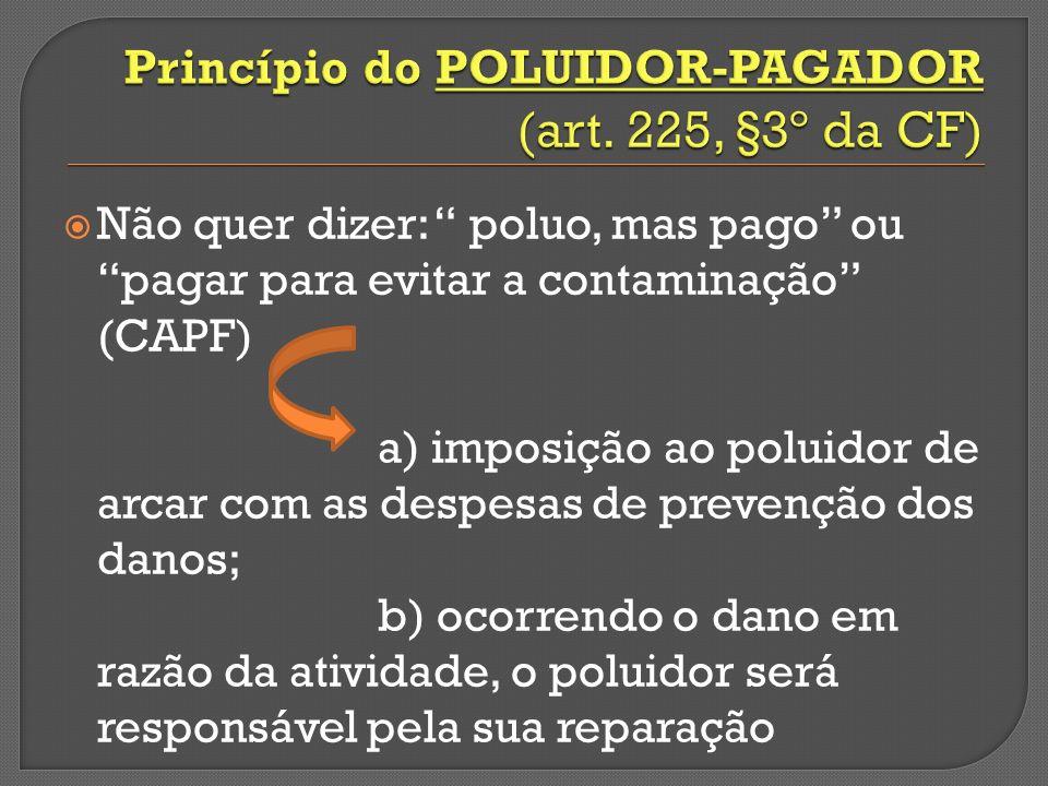 Não quer dizer: poluo, mas pago ou pagar para evitar a contaminação (CAPF) a) imposição ao poluidor de arcar com as despesas de prevenção dos danos; b) ocorrendo o dano em razão da atividade, o poluidor será responsável pela sua reparação