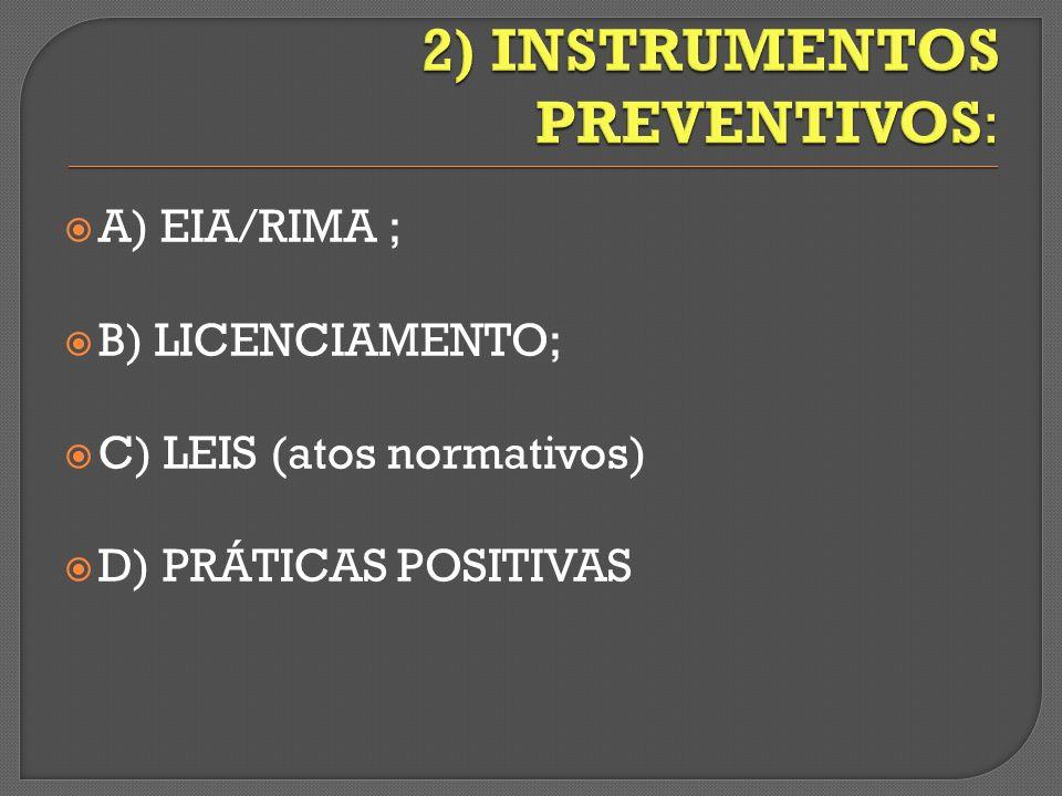 A) EIA/RIMA ; B) LICENCIAMENTO; C) LEIS (atos normativos) D) PRÁTICAS POSITIVAS