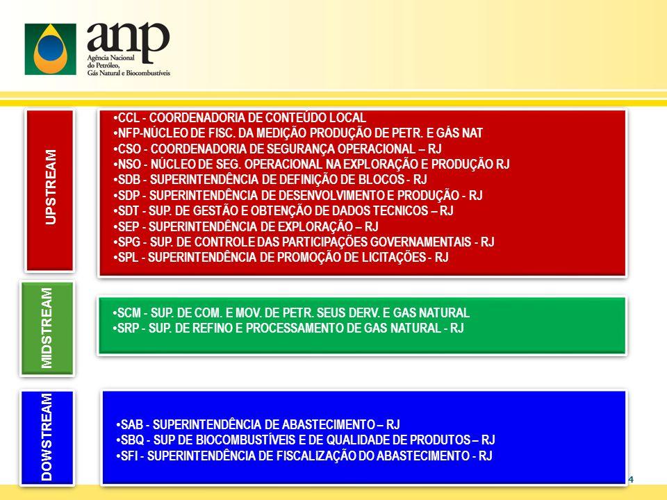 4 CCL - COORDENADORIA DE CONTEÚDO LOCAL NFP-NÚCLEO DE FISC. DA MEDIÇÃO PRODUÇÃO DE PETR. E GÁS NAT CSO - COORDENADORIA DE SEGURANÇA OPERACIONAL – RJ N
