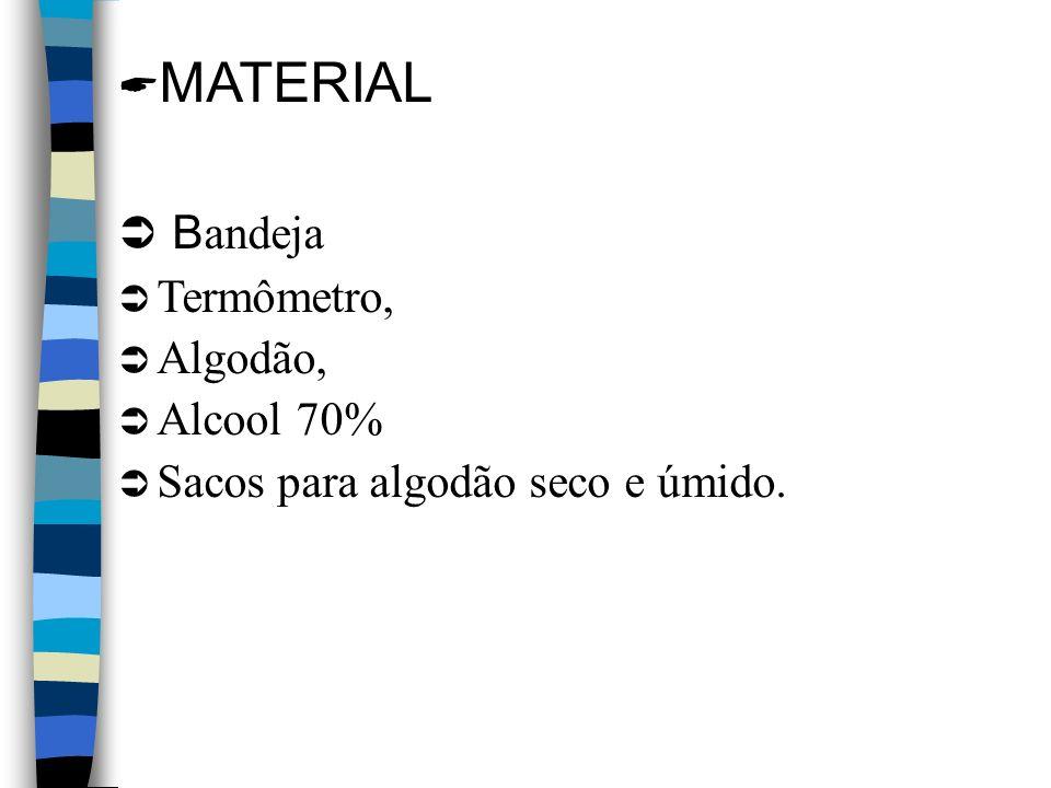 MATERIAL B andeja Termômetro, Algodão, Alcool 70% Sacos para algodão seco e úmido.