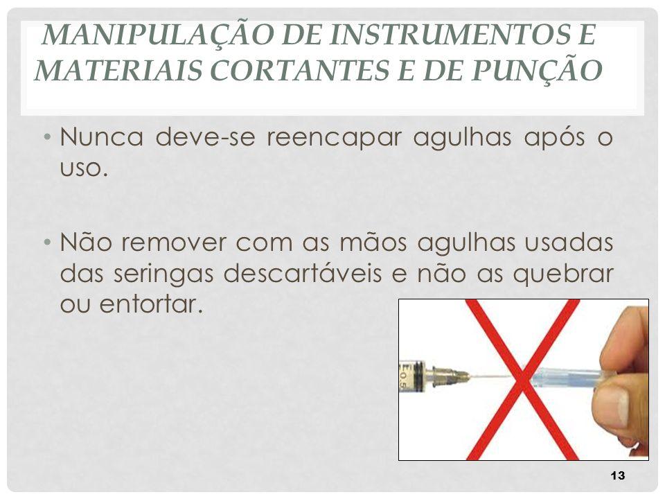 MANIPULAÇÃO DE INSTRUMENTOS E MATERIAIS CORTANTES E DE PUNÇÃO Nunca deve-se reencapar agulhas após o uso. Não remover com as mãos agulhas usadas das s