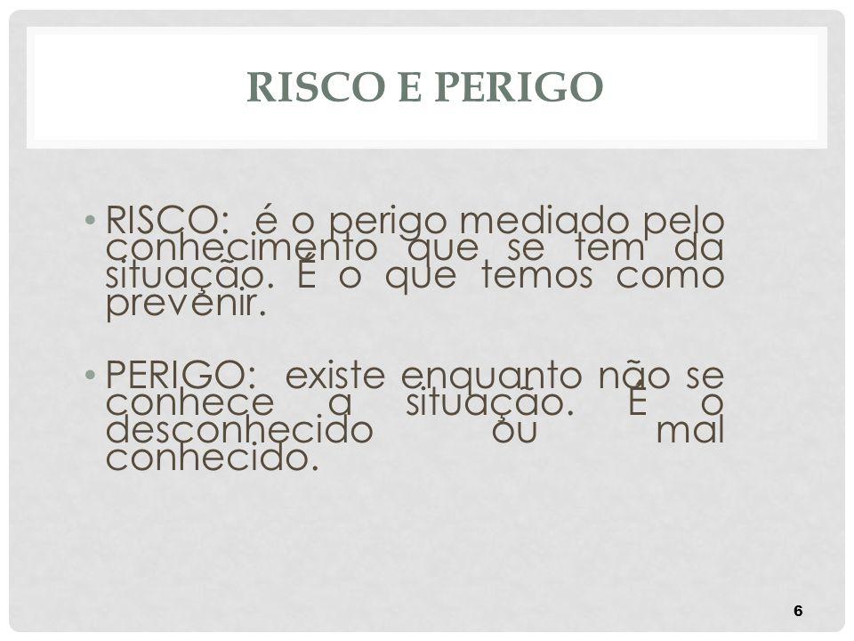 RISCO E PERIGO RISCO: é o perigo mediado pelo conhecimento que se tem da situação. É o que temos como prevenir. PERIGO: existe enquanto não se conhece