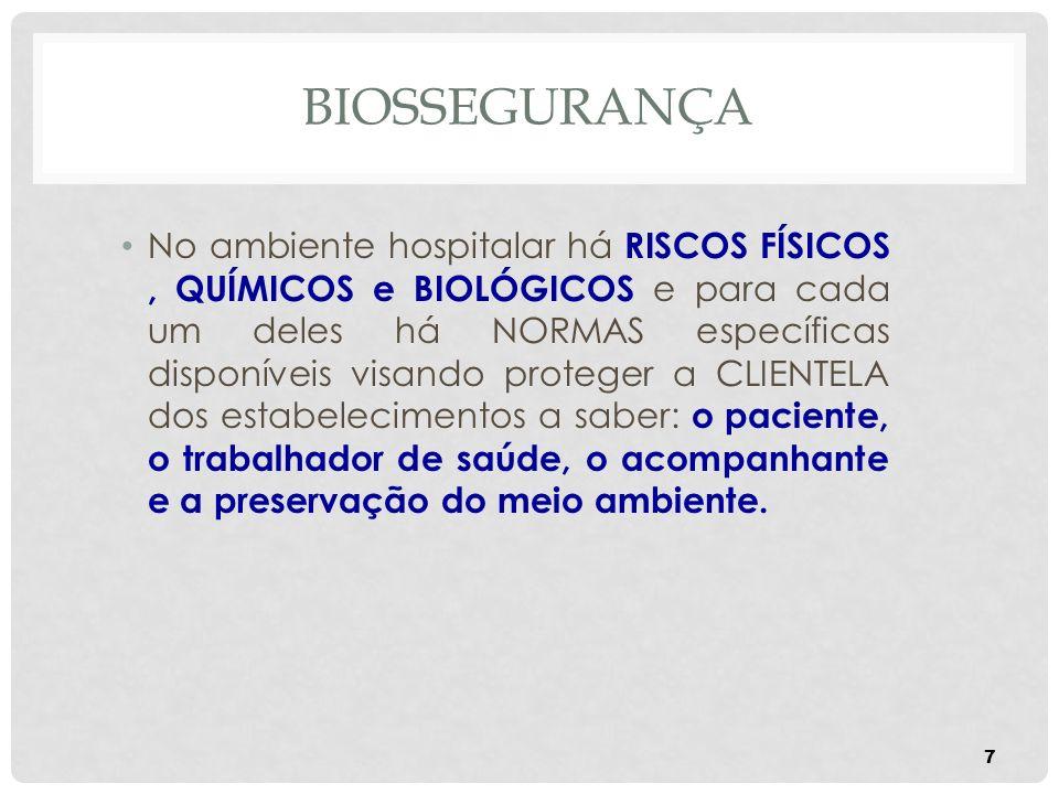 BIOSSEGURANÇA 7 No ambiente hospitalar há RISCOS FÍSICOS, QUÍMICOS e BIOLÓGICOS e para cada um deles há NORMAS específicas disponíveis visando protege