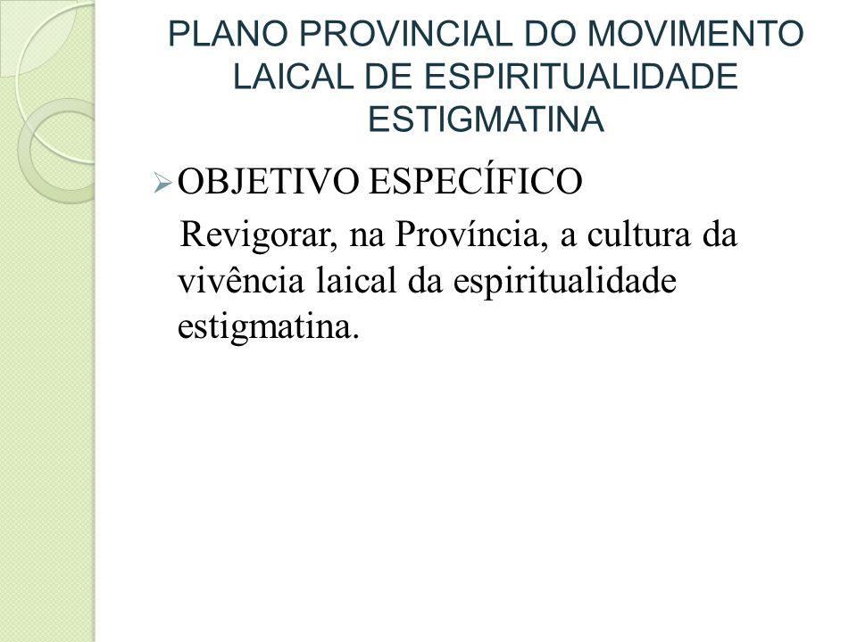 PLANO PROVINCIAL DO MOVIMENTO LAICAL DE ESPIRITUALIDADE ESTIGMATINA OBJETIVO ESPECÍFICO Revigorar, na Província, a cultura da vivência laical da espir