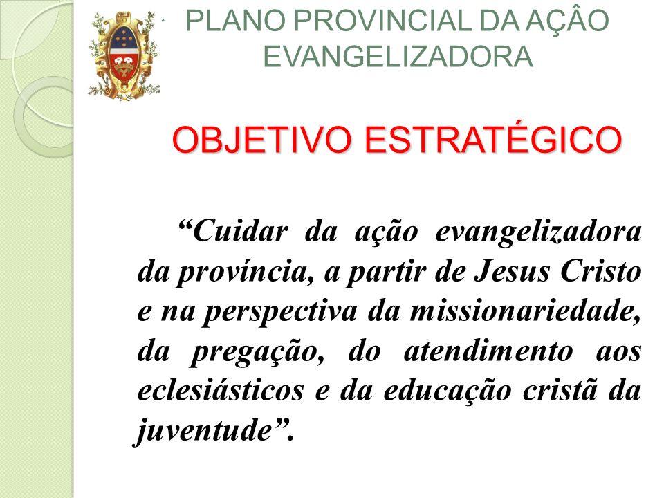 OBJETIVO ESTRATÉGICO PLANO PROVINCIAL DA AÇÂO EVANGELIZADORA OBJETIVO ESTRATÉGICO Cuidar da ação evangelizadora da província, a partir de Jesus Cristo