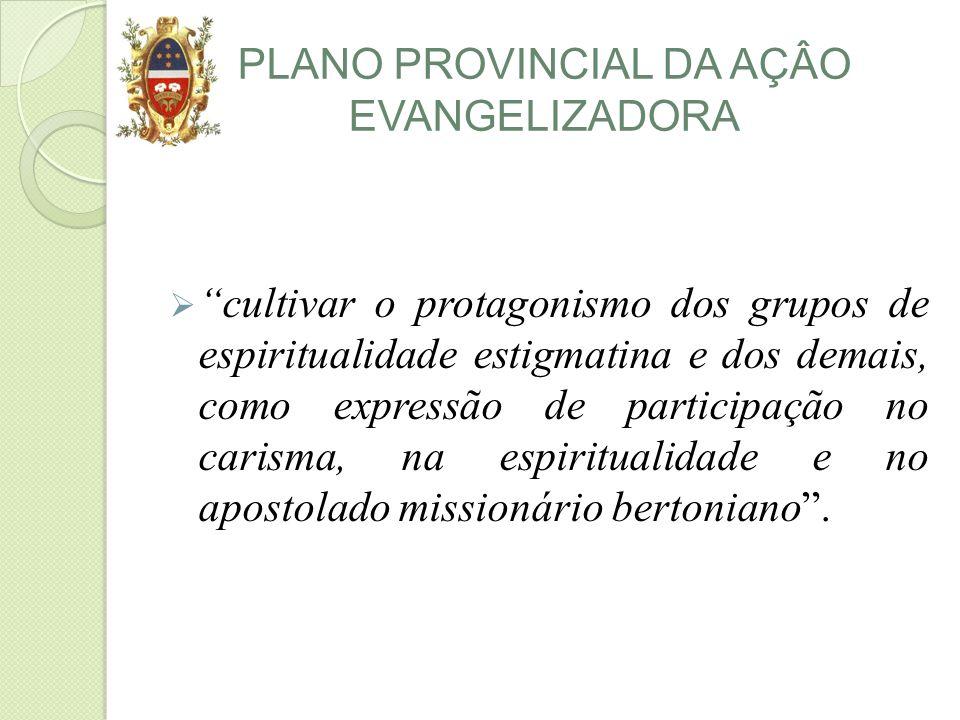 PLANO PROVINCIAL DA AÇÂO EVANGELIZADORA cultivar o protagonismo dos grupos de espiritualidade estigmatina e dos demais, como expressão de participação no carisma, na espiritualidade e no apostolado missionário bertoniano.