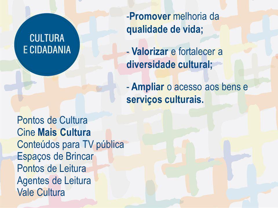 - Promover melhoria da qualidade de vida; - Valorizar e fortalecer a diversidade cultural; - Ampliar o acesso aos bens e serviços culturais.