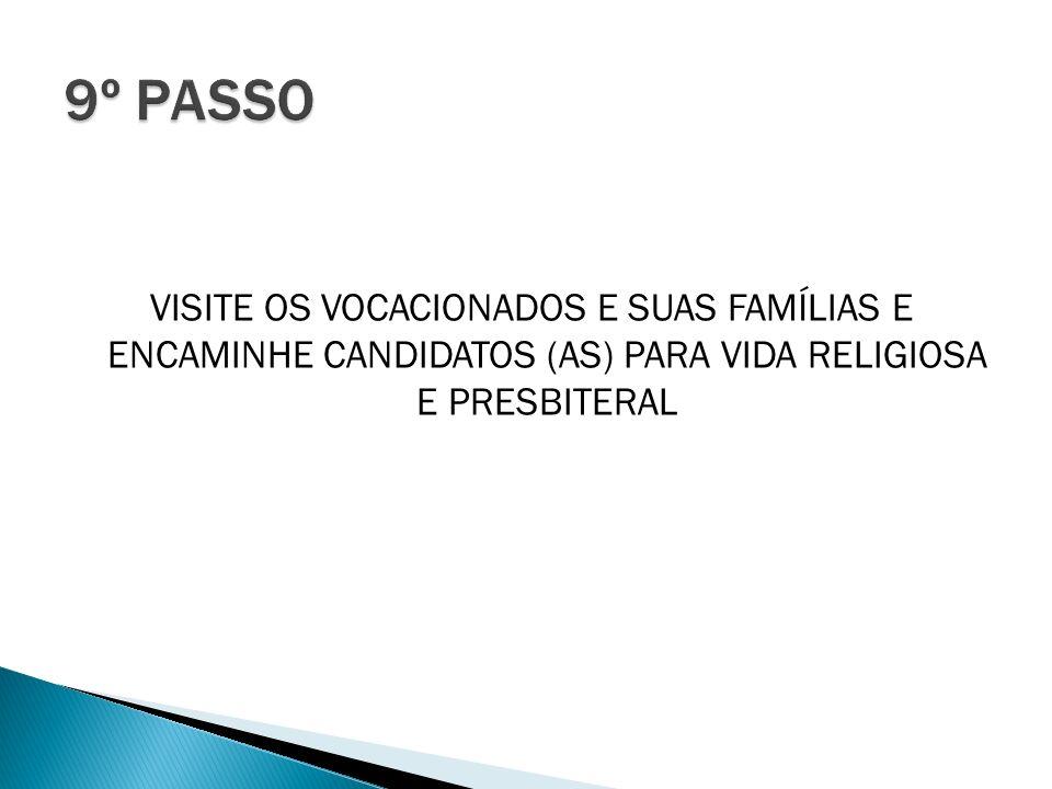 VISITE OS VOCACIONADOS E SUAS FAMÍLIAS E ENCAMINHE CANDIDATOS (AS) PARA VIDA RELIGIOSA E PRESBITERAL