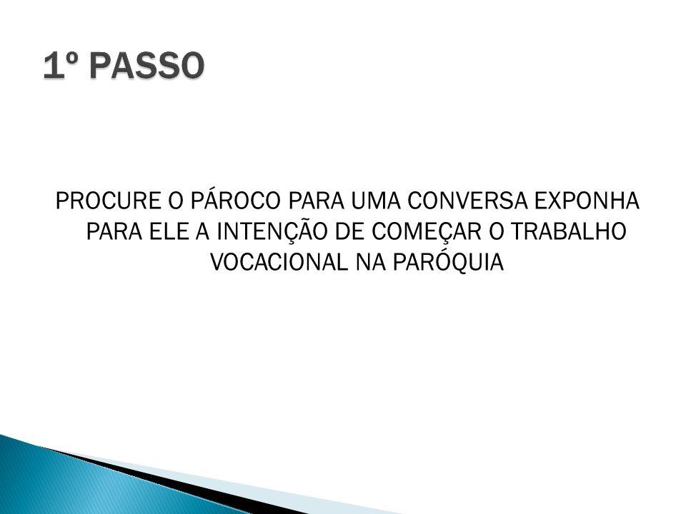 PROCURE O PÁROCO PARA UMA CONVERSA EXPONHA PARA ELE A INTENÇÃO DE COMEÇAR O TRABALHO VOCACIONAL NA PARÓQUIA