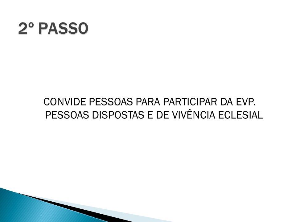 CONVIDE PESSOAS PARA PARTICIPAR DA EVP. PESSOAS DISPOSTAS E DE VIVÊNCIA ECLESIAL