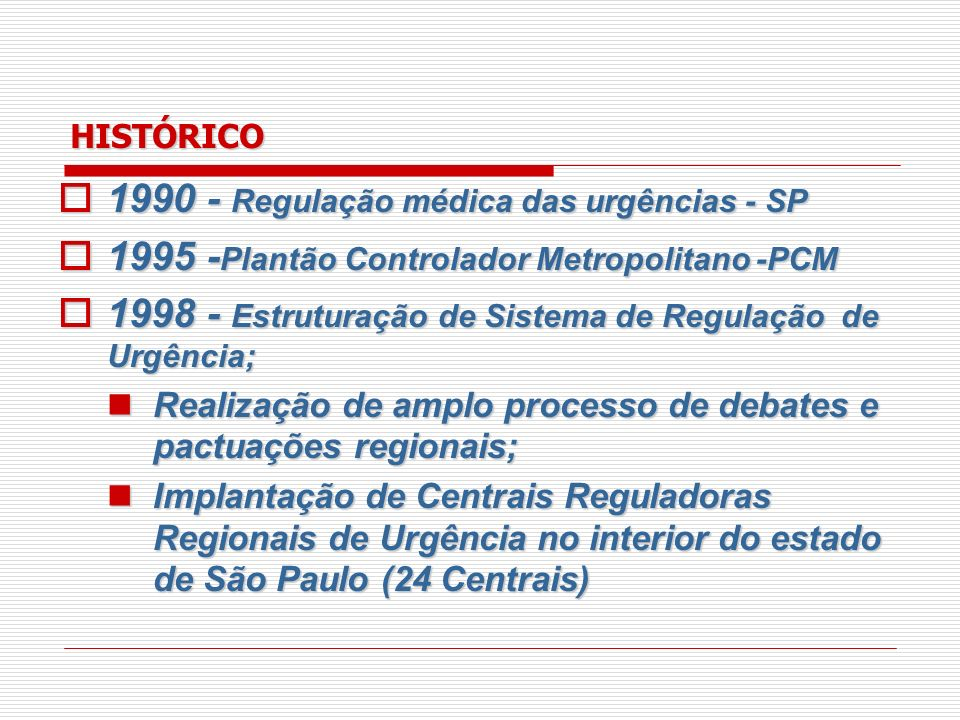 HISTÓRICO 1998 - Resolução 1529/98 – CFM, revogada em 2003 pela Resolução 1671/03 – CFM; 1998 - Resolução 1529/98 – CFM, revogada em 2003 pela Resolução 1671/03 – CFM; 1999 - Portaria MS 824/99, revogada em 2001 pela Portaria MS 814/01; 1999 - Portaria MS 824/99, revogada em 2001 pela Portaria MS 814/01; 2000 - Portaria MS 356/00 – define regulação; 2000 - Portaria MS 356/00 – define regulação; 2002 - Portaria 423/02 – controle, avaliação e regulação; 2002 - Portaria 423/02 – controle, avaliação e regulação;