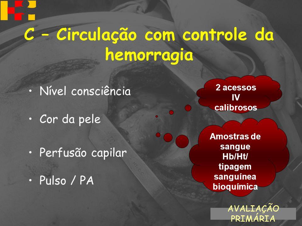 Nível consciência Cor da pele Perfusão capilar Pulso / PA 2 acessos IV calibrosos Amostras de sangue Hb/Ht/ tipagem sanguínea bioquímica AVALIAÇÃO PRI