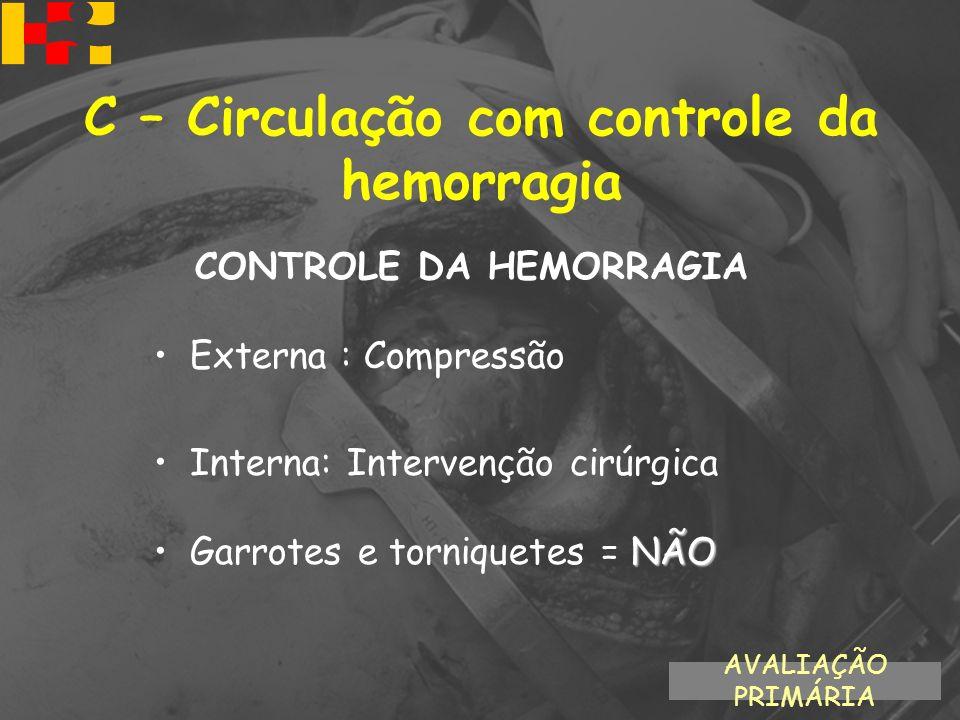CONTROLE DA HEMORRAGIA Externa : Compressão Interna: Intervenção cirúrgica NÃOGarrotes e torniquetes = NÃO AVALIAÇÃO PRIMÁRIA C – Circulação com contr