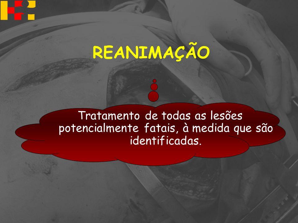 REANIMAÇÃO Tratamento de todas as lesões potencialmente fatais, à medida que são identificadas.