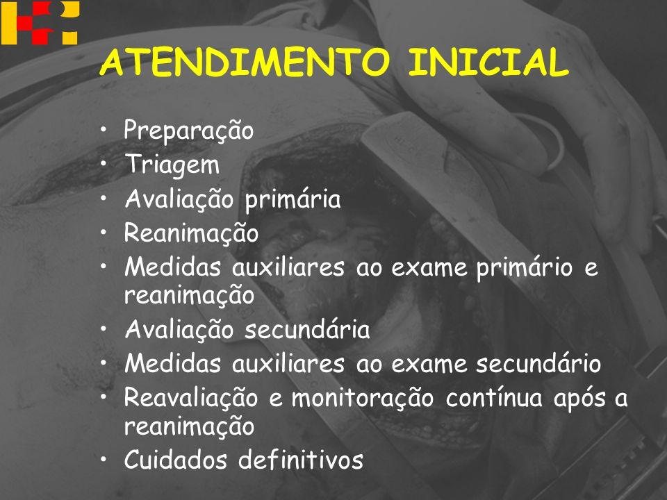 ATENDIMENTO INICIAL Preparação Triagem Avaliação primária Reanimação Medidas auxiliares ao exame primário e reanimação Avaliação secundária Medidas au
