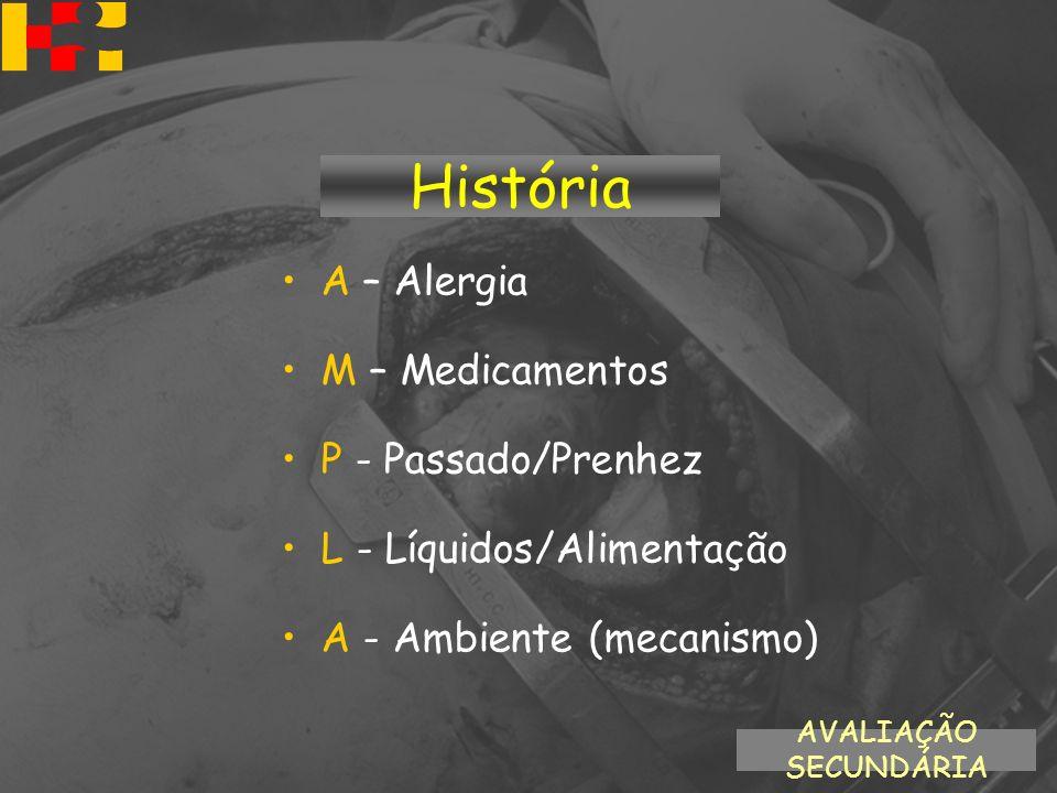 História A – Alergia M – Medicamentos P - Passado/Prenhez L - Líquidos/Alimentação A - Ambiente (mecanismo) AVALIAÇÃO SECUNDÁRIA