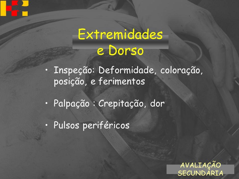 Inspeção: Deformidade, coloração, posição, e ferimentos Palpação : Crepitação, dor Pulsos periféricos AVALIAÇÃO SECUNDÁRIA Extremidades e Dorso