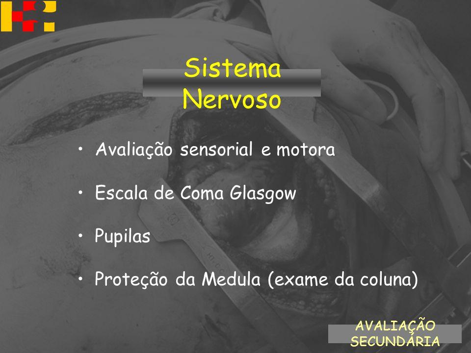 Avaliação sensorial e motora Escala de Coma Glasgow Pupilas Proteção da Medula (exame da coluna) AVALIAÇÃO SECUNDÁRIA Sistema Nervoso