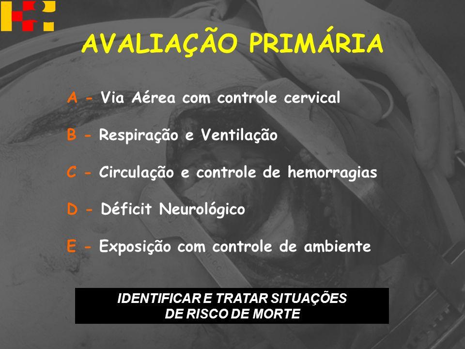 A - Via Aérea com controle cervical B - Respiração e Ventilação C - Circulação e controle de hemorragias D - Déficit Neurológico E - Exposição com con