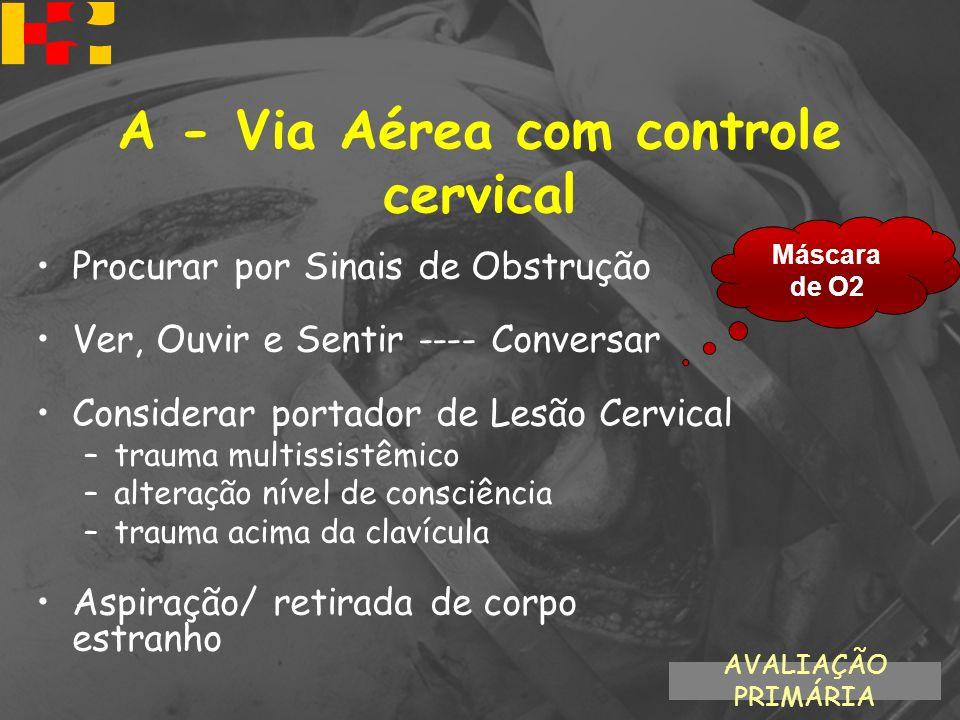 A - Via Aérea com controle cervical Procurar por Sinais de Obstrução Ver, Ouvir e Sentir ---- Conversar Considerar portador de Lesão Cervical –trauma