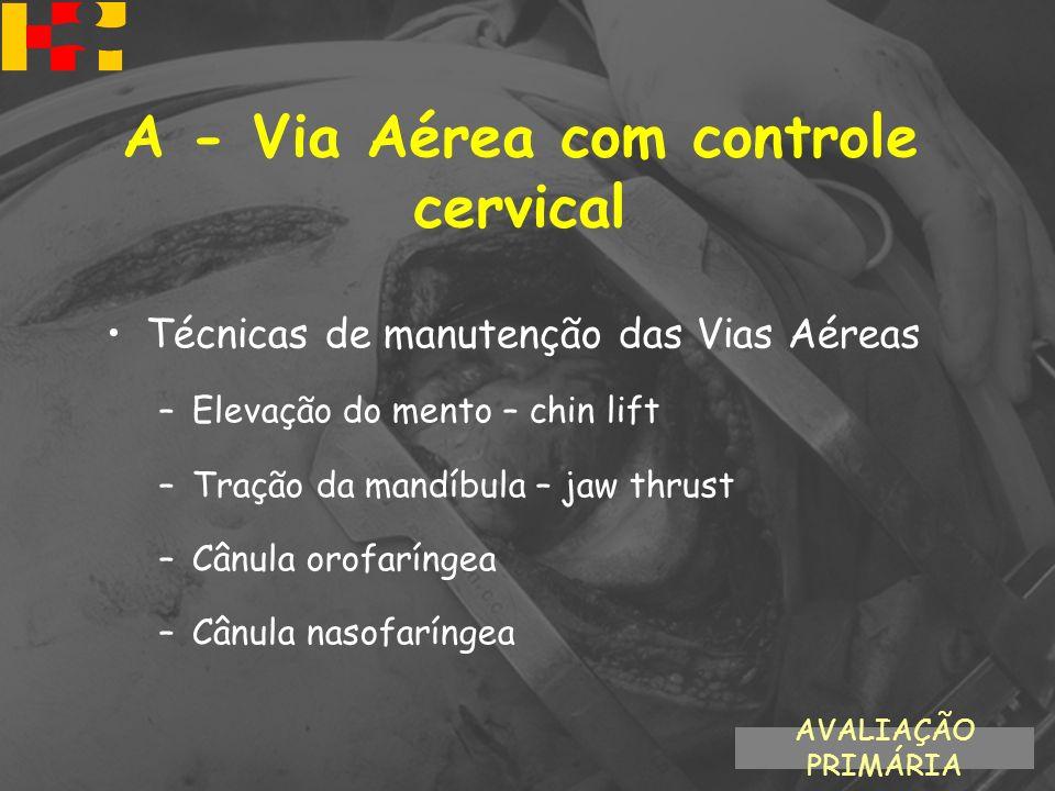 Técnicas de manutenção das Vias Aéreas –Elevação do mento – chin lift –Tração da mandíbula – jaw thrust –Cânula orofaríngea –Cânula nasofaríngea AVALI