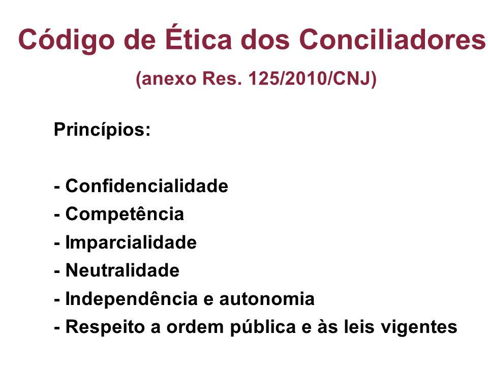 Código de Ética dos Conciliadores (anexo Res. 125/2010/CNJ) Princípios: - Confidencialidade - Competência - Imparcialidade - Neutralidade - Independên