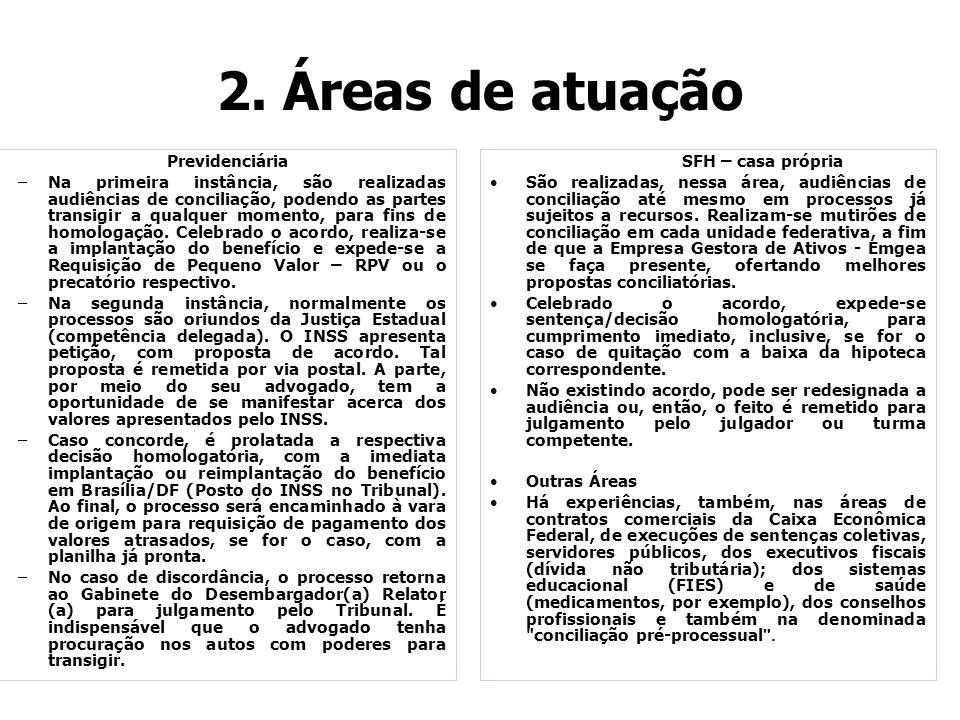 2. Áreas de atuação Previdenciária –Na primeira instância, são realizadas audiências de conciliação, podendo as partes transigir a qualquer momento, p
