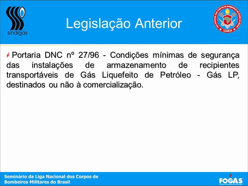Legislação Anterior Portaria DNC nº 27/96 - Condições mínimas de segurança das instalações de armazenamento de recipientes transportáveis de Gás Lique
