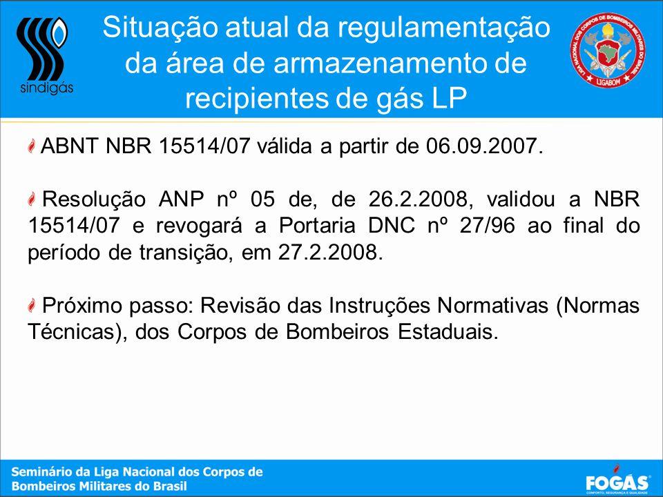 ABNT NBR 15514/07 válida a partir de 06.09.2007. Resolução ANP nº 05 de, de 26.2.2008, validou a NBR 15514/07 e revogará a Portaria DNC nº 27/96 ao fi