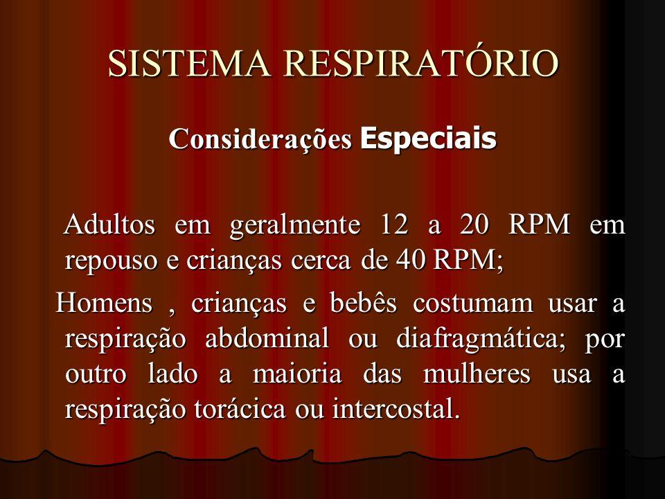 SISTEMA RESPIRATÓRIO Considerações Especiais Adultos em geralmente 12 a 20 RPM em repouso e crianças cerca de 40 RPM; Adultos em geralmente 12 a 20 RP