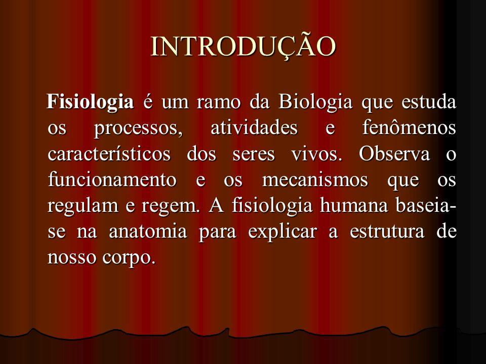 INTRODUÇÃO Fisiologia é um ramo da Biologia que estuda os processos, atividades e fenômenos característicos dos seres vivos. Observa o funcionamento e