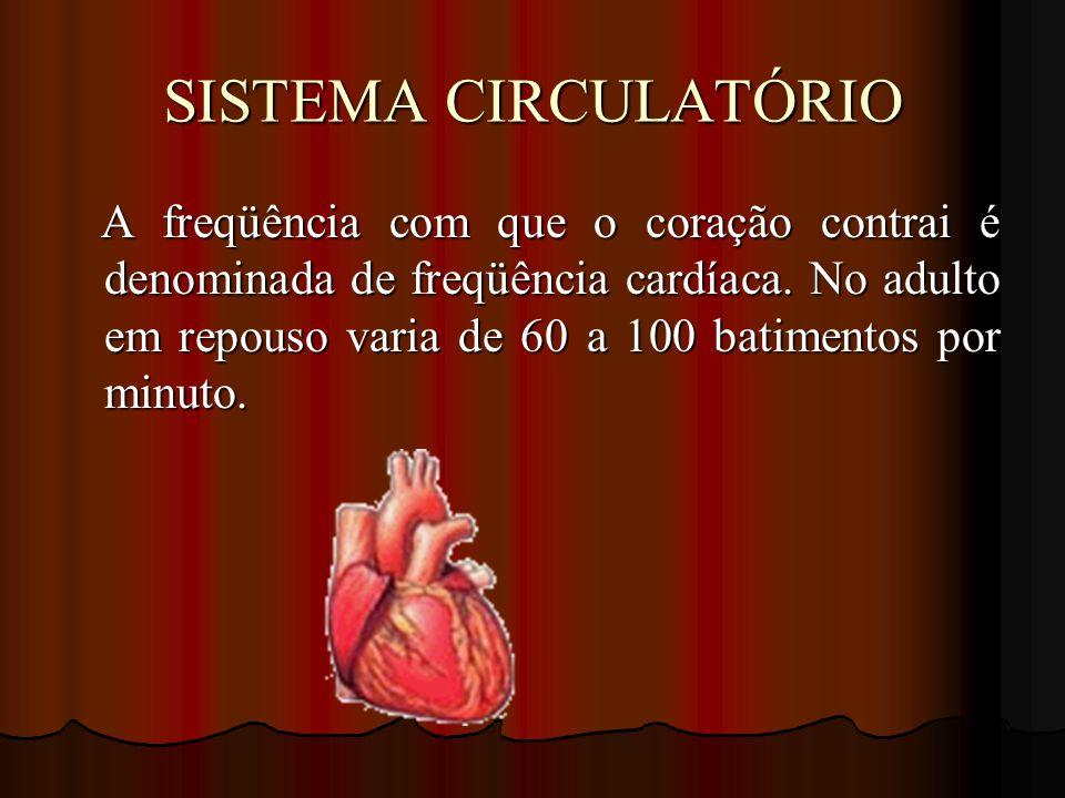SISTEMA CIRCULATÓRIO A freqüência com que o coração contrai é denominada de freqüência cardíaca. No adulto em repouso varia de 60 a 100 batimentos por