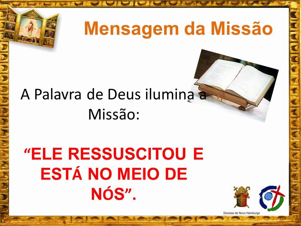 Um encontro com Jesus: na Palavra de Deus; nos Sacramentos; nos retiros; nos gestos de caridade; nas visitas aos mission á rios.