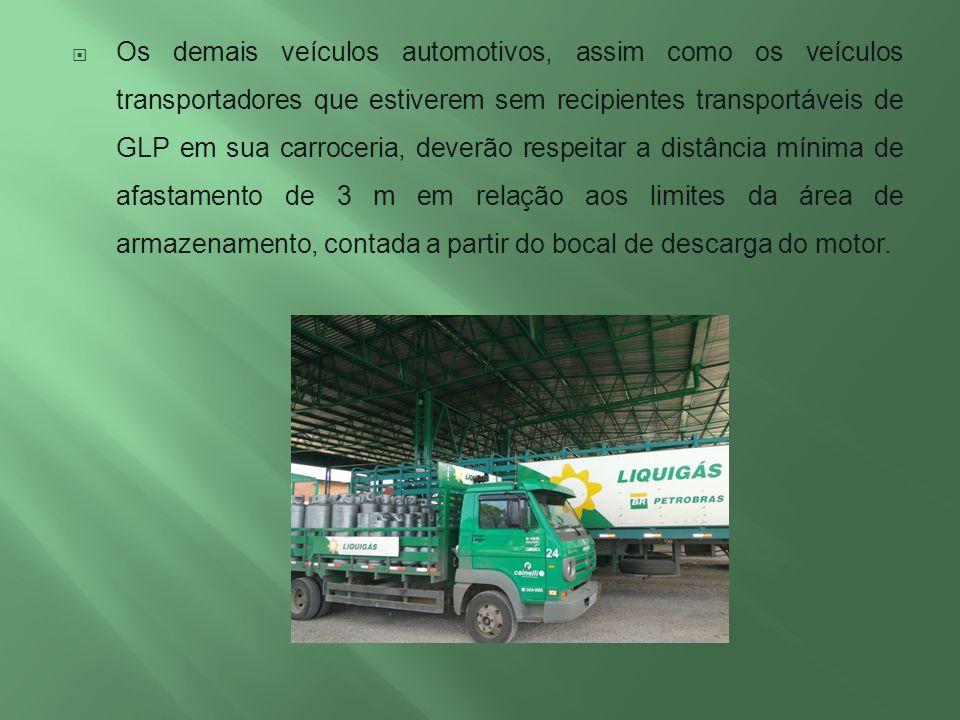 Os demais veículos automotivos, assim como os veículos transportadores que estiverem sem recipientes transportáveis de GLP em sua carroceria, deverão