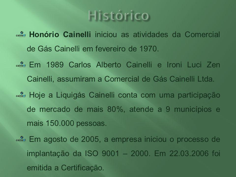 Honório Cainelli iniciou as atividades da Comercial de Gás Cainelli em fevereiro de 1970. Em 1989 Carlos Alberto Cainelli e Ironi Luci Zen Cainelli, a