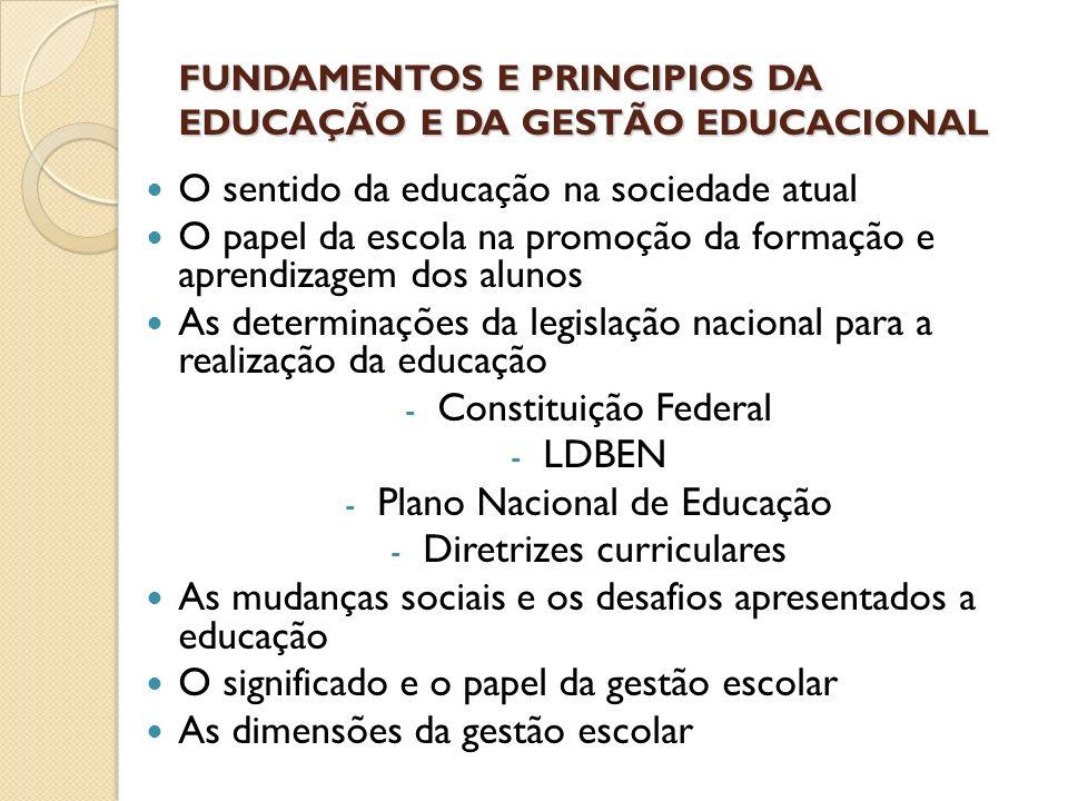 FUNDAMENTOS E PRINCIPIOS DA EDUCAÇÃO E DA GESTÃO EDUCACIONAL O sentido da educação na sociedade atual O papel da escola na promoção da formação e apre