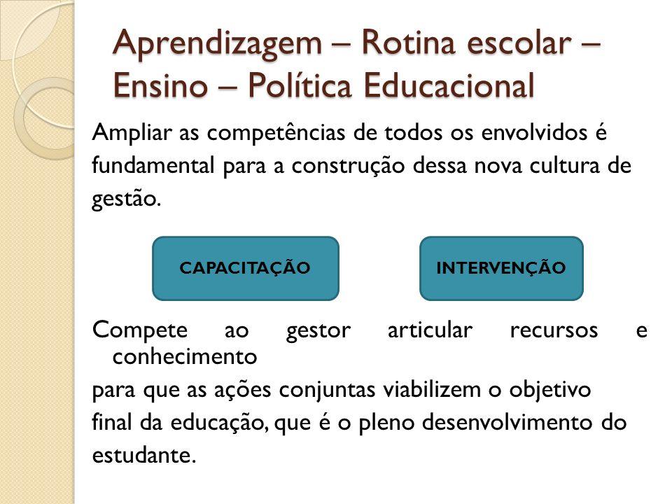 Aprendizagem – Rotina escolar – Ensino – Política Educacional Ampliar as competências de todos os envolvidos é fundamental para a construção dessa nov