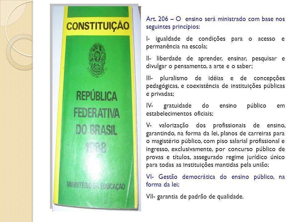 Art. 206 – O ensino será ministrado com base nos seguintes princípios: I- igualdade de condições para o acesso e permanência na escola; II- liberdade