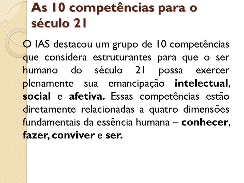 As 10 competências para o século 21 O IAS destacou um grupo de 10 competências que considera estruturantes para que o ser humano do século 21 possa ex