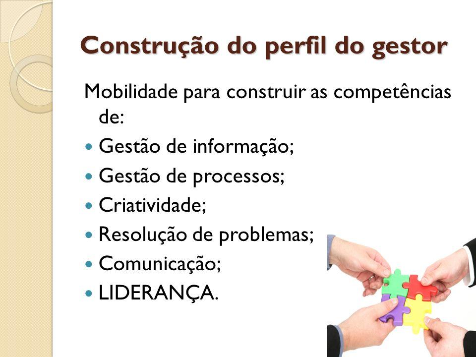 Construção do perfil do gestor Mobilidade para construir as competências de: Gestão de informação; Gestão de processos; Criatividade; Resolução de pro