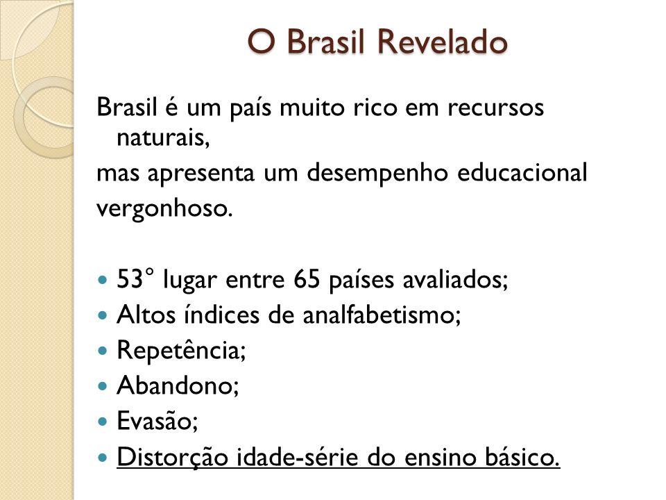 O Brasil Revelado Brasil é um país muito rico em recursos naturais, mas apresenta um desempenho educacional vergonhoso. 53° lugar entre 65 países aval
