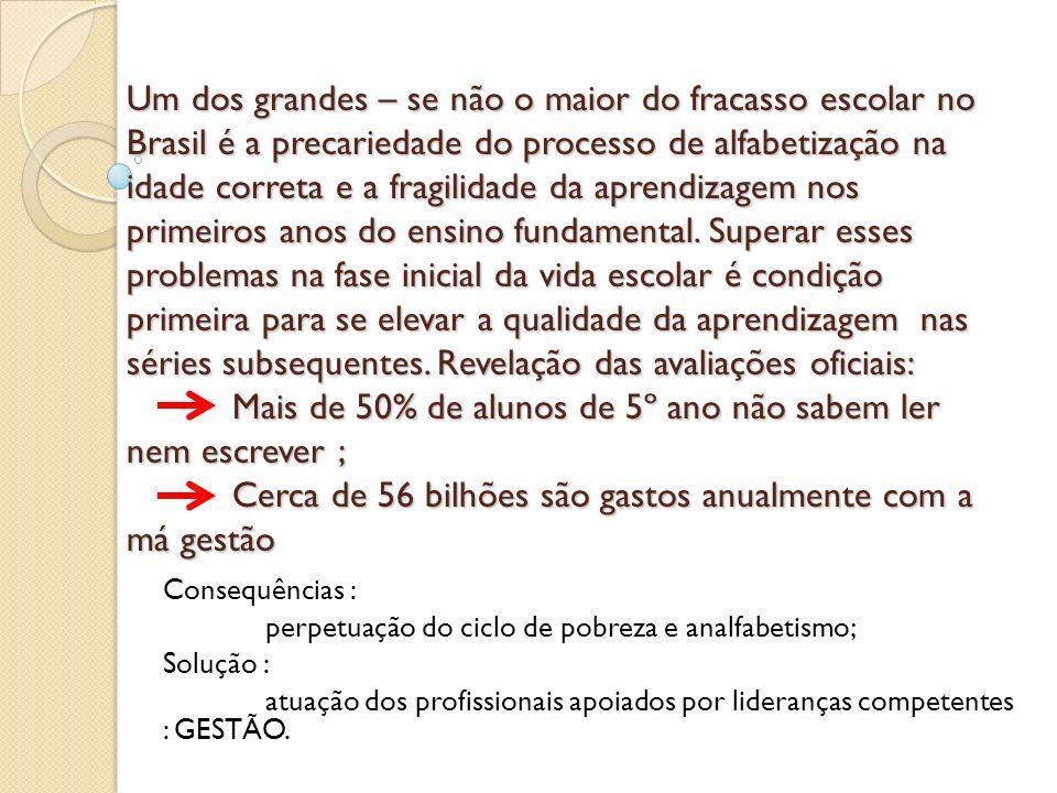 Um dos grandes – se não o maior do fracasso escolar no Brasil é a precariedade do processo de alfabetização na idade correta e a fragilidade da aprend