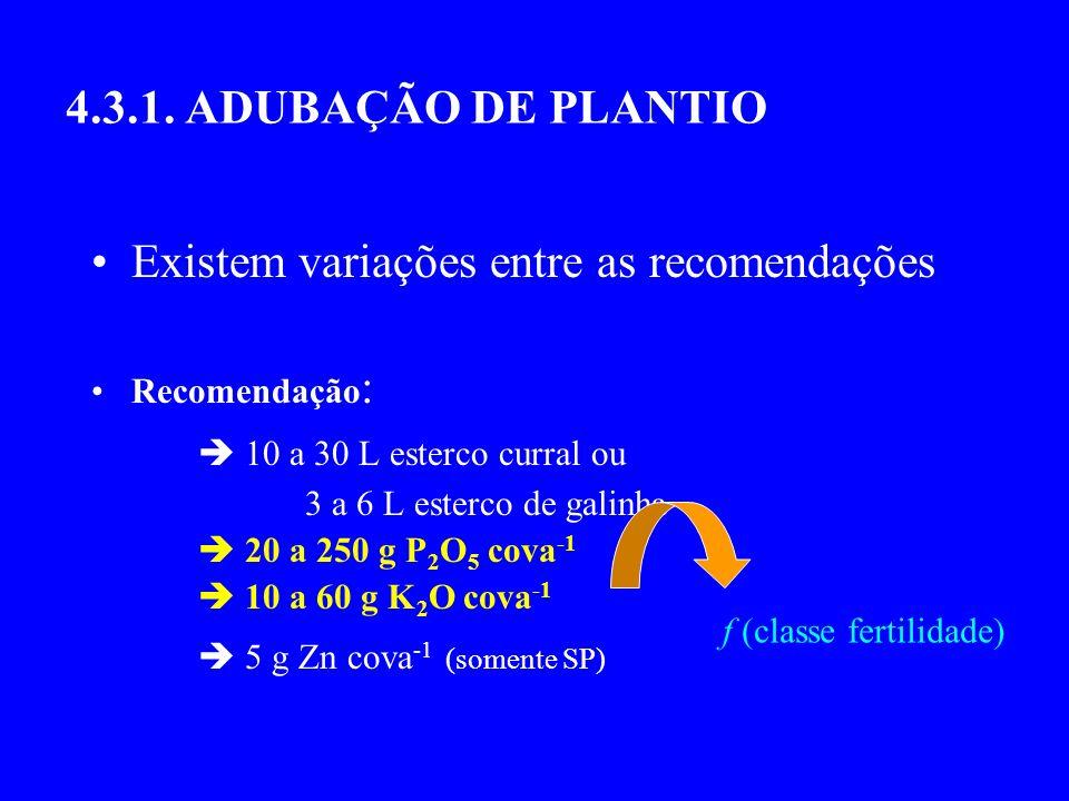 4.3.1. ADUBAÇÃO DE PLANTIO Existem variações entre as recomendações Recomendação : 10 a 30 L esterco curral ou 3 a 6 L esterco de galinha 20 a 250 g P