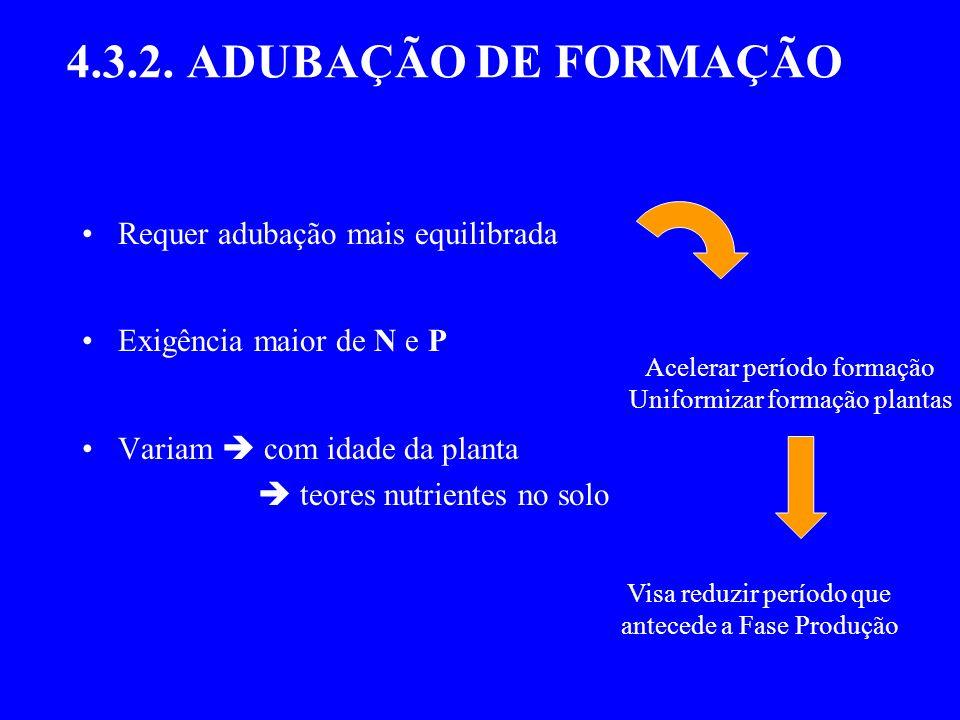 4.3.2. ADUBAÇÃO DE FORMAÇÃO Requer adubação mais equilibrada Exigência maior de N e P Variam com idade da planta teores nutrientes no solo Acelerar pe